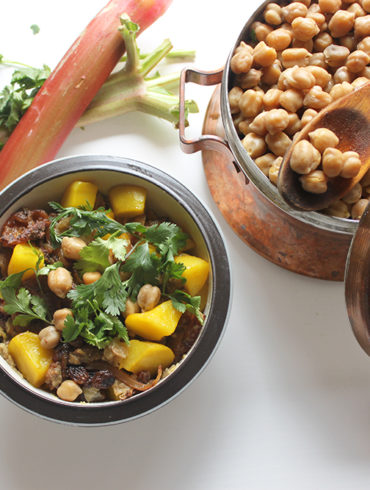 vegan tagine with rhubarb