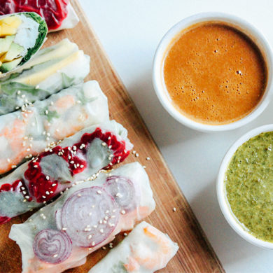 spring rolls with peanut butter sauce