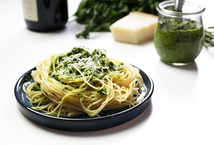 basil pesto with cashews instead of pine nuts